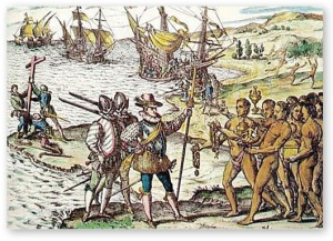 Columbus landing in the New World and 'discovering' the native 'Indians'